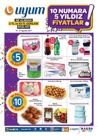 Uyum Market 15-31 Ağustos 2017 Kampanya Broşürü: 10 Numara 5 Yıldız Fiyatlar! Sayfa 1