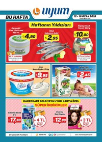 Uyum Market 12 - 18 Ocak 2018 Kampanya Broşürü! Sayfa 1