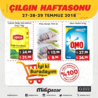 Milli Pazar Market 27 - 29 Temmuz 2018 Kampanya Broşürü! Sayfa 1