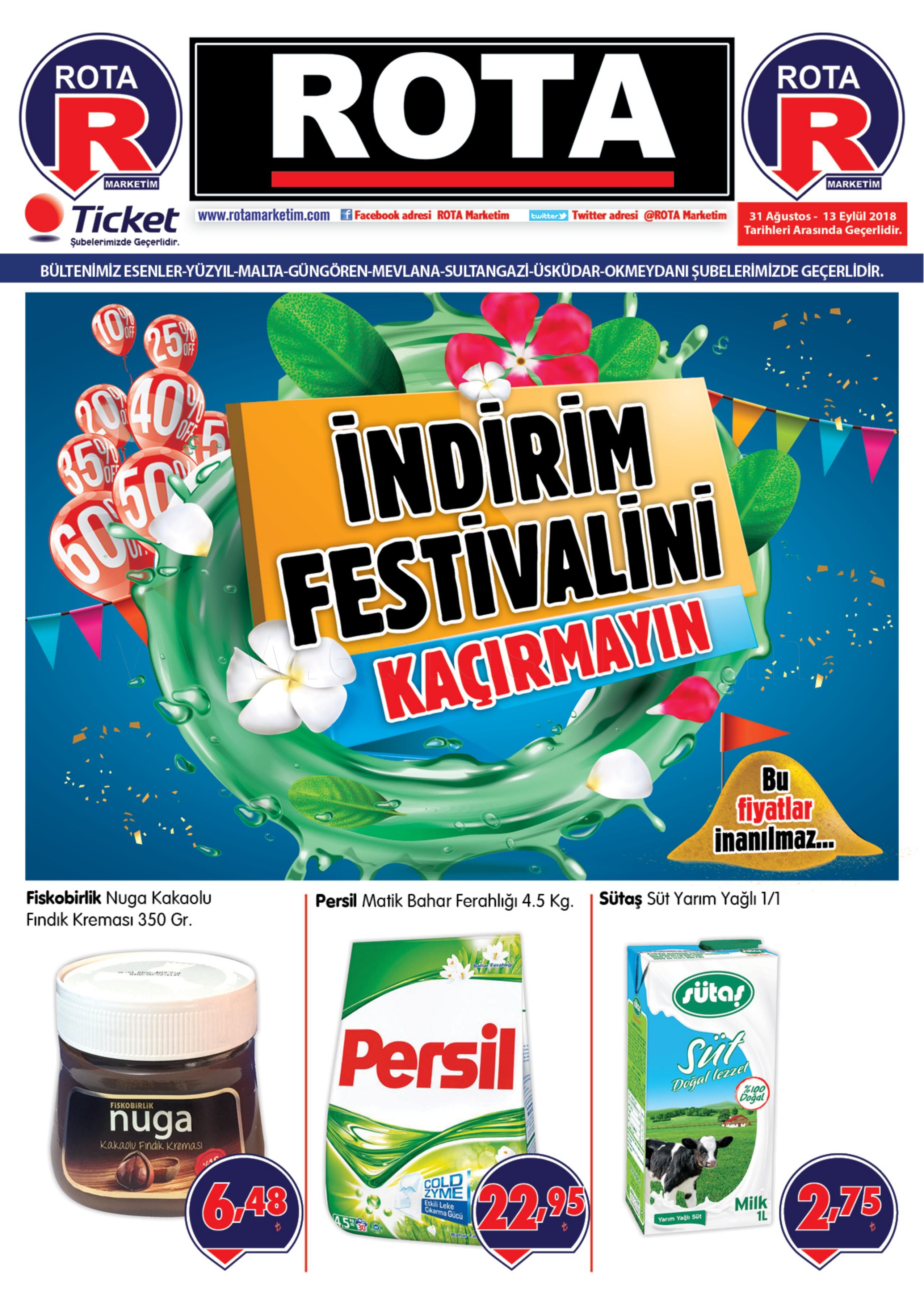 Rota Market 31 Ağustos - 13 Eylül 2018 Kampanya Broşürü! Sayfa 1