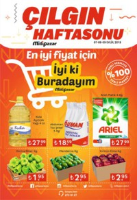 Milli Pazar Market 07 - 09 Eylül 2018 Çılgın Haftasonu Kampanya Broşürü! Sayfa 1